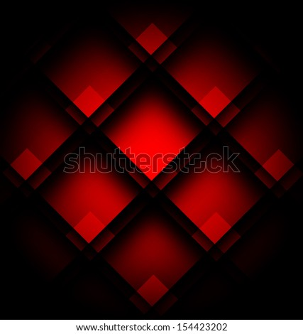 Background of squares with red illumination - stock vector