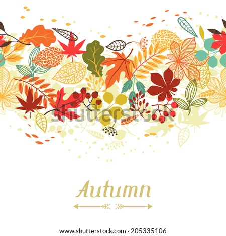 Background of stylized autumn leaves for greeting cards. - stock vector