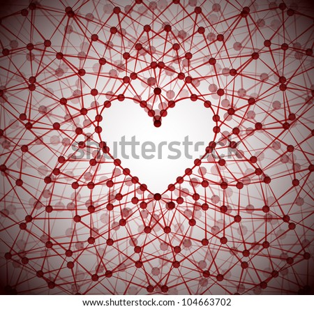Background of the molecular structure, forming a heart shape. Eps 10 - stock vector