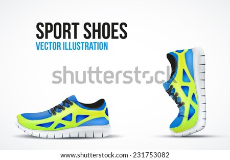 Background of Two Running shoes. Bright Sport sneakers symbols. Vector illustration. - stock vector