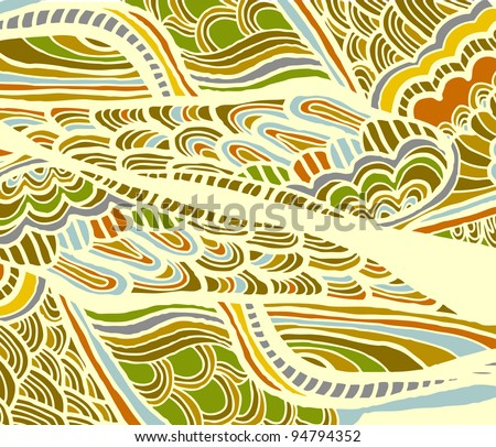 background of wild nature in the abstract and ethnic style - stock vector
