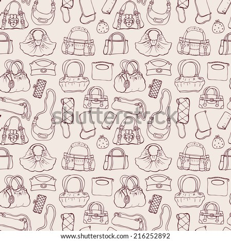 Background of women handbags. Hand drawn vector pattern. - stock vector
