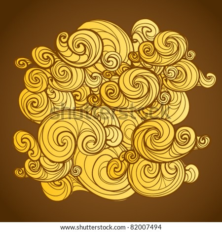 Background of yellow curled abstract clouds - stock vector