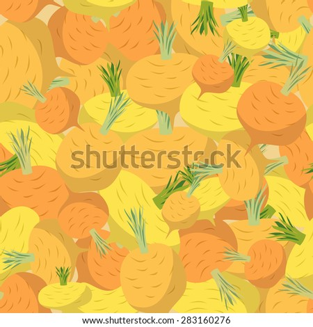 Background of yellow turnips. Vector seamless pattern of vegetables. Vector texture - stock vector