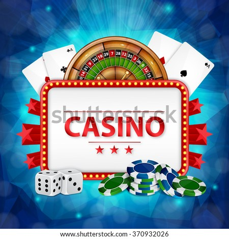 Background on a casino theme. Casino background. Roulette, cards, poker chips and dices with place for text. EPS10 vector - stock vector
