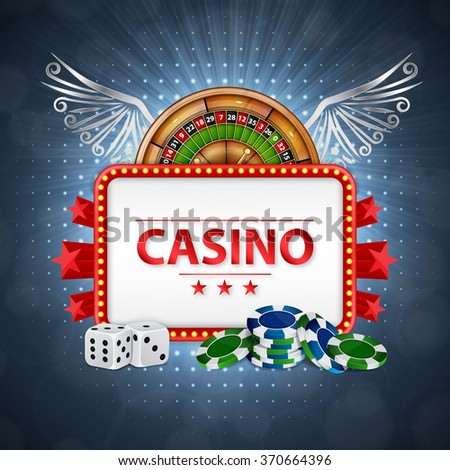 Background on a casino theme. Casino background. Roulette, poker chips and dices with place for text. EPS10 vector - stock vector