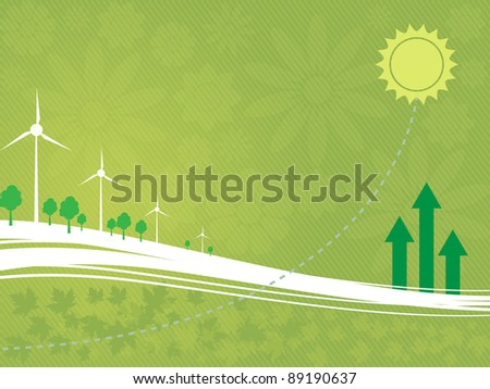 Background on an ecological theme with wind-driven generators, arrows, the sun, trees, flowers and leaves - stock vector