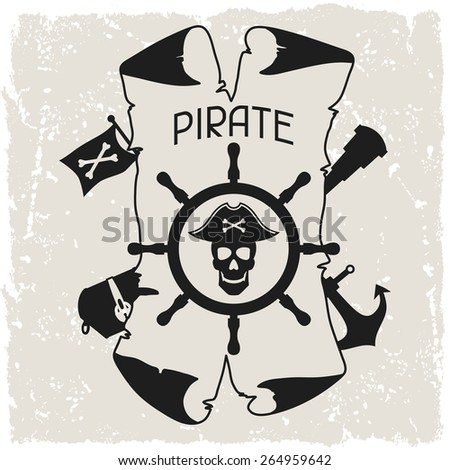 Background on pirate theme with objects and elements. - stock vector
