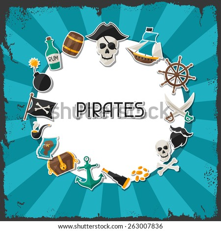 Background on pirate theme with stickers and objects. - stock vector