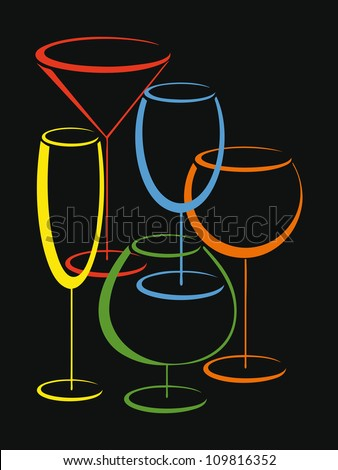 Background or cower of wine card  with set of colorful glasses for alcohol drinks