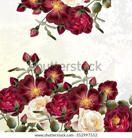 Background or illustration with rose flowers in retro style - stock vector