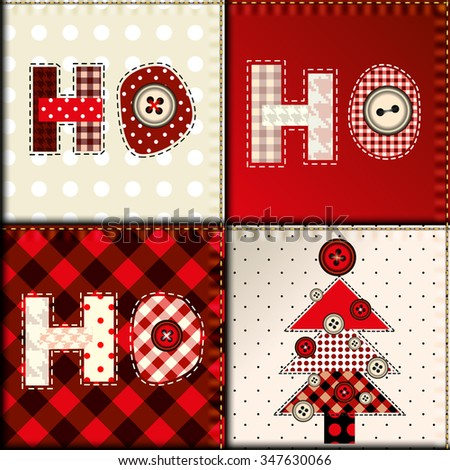 Background pattern. Christmas pattern in patchwork style. Lettering Ho-ho-ho. - stock vector