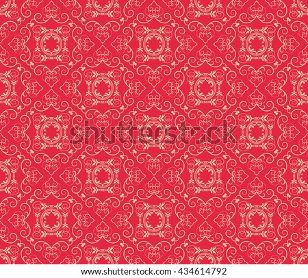 Background pattern. Vintage style texture: Victorian, Baroque, Gothic. Modern wallpaper for your design. Red image. Vector background - stock vector