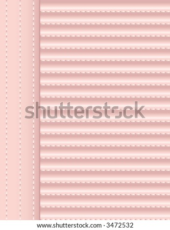 Background - Pink Fabric with Stitches - stock vector