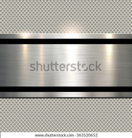 Background, polished metal texture over seamless pattern, vector.