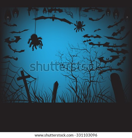 background, pumpkin trees grave spiders, bats halloween set, vector illustration hanging upside down and in flight, to print labels and office decoration, crafts, template  - stock vector