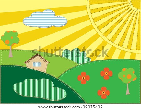 Background scrap-booking landscape with house< sun and trees