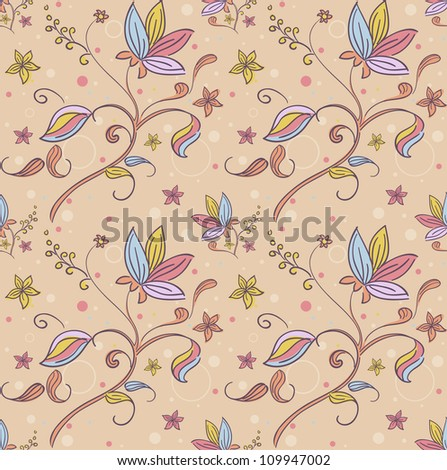 Background Seamless Illustration with a Floral Design