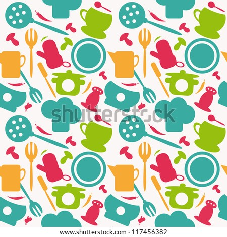 Background seamless kitchen pattern. vector illustration