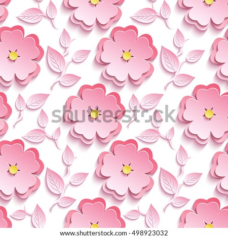 Background seamless pattern with pink 3d flower sakura cutting paper - japanese cherry tree, branch, leaf. Floral stylish modern wallpaper. Vector illustration