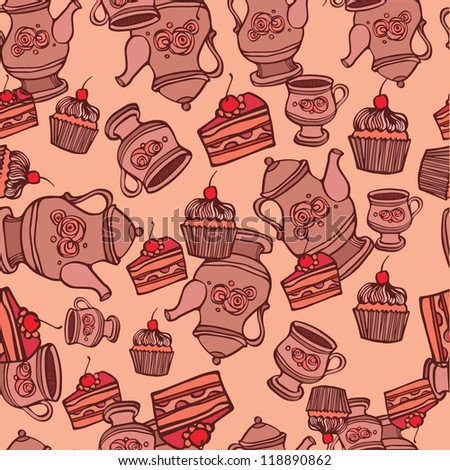 background seamless with cupcake and tea set - stock vector