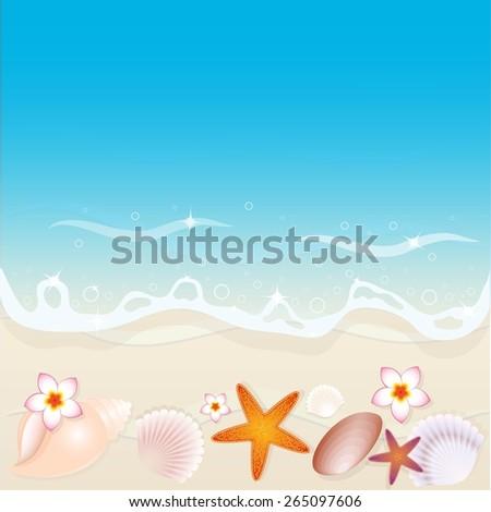 Background shells on the beach. Vector illustration. - stock vector