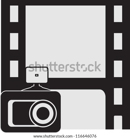 background sign with place for text in frame and photo camera - stock vector