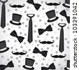 background silhouettes of neckties, ties, hats and mustaches - stock vector