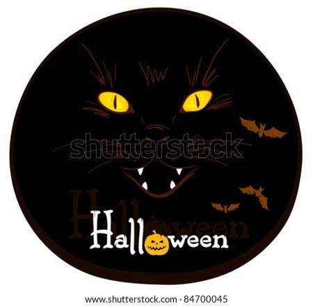 Background - spooky cat - stock vector