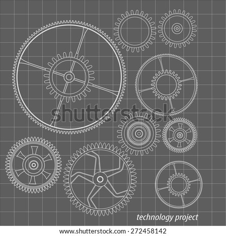 Background technology with gears and cogwheel, vector illustration. - stock vector