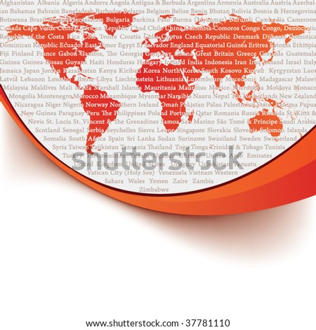 Background template with the countries of the world - stock vector