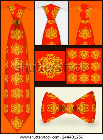 Background texture shown in a tie. Points tie and bow tie . Shortcut to tie. - stock vector