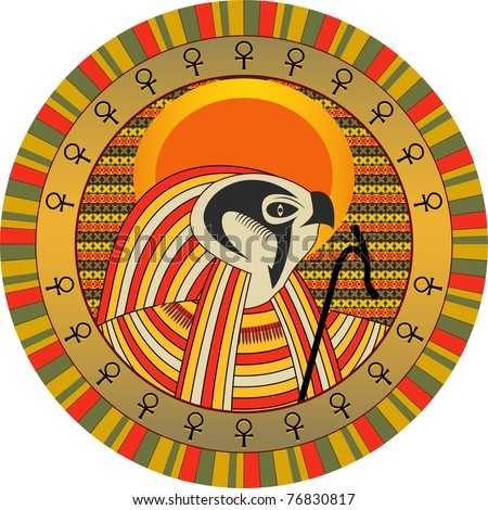 Background the Egyptian god of sun Ra in a vector - stock vector