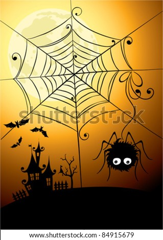 Background - the spider and the full moon - stock vector
