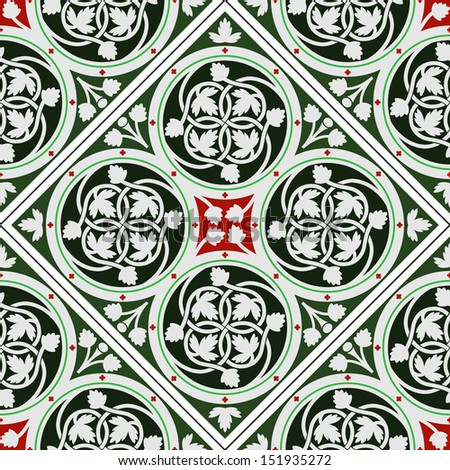 Background tile ornament inspired by a real tile floor in Sainte-Chapelle, Paris  - stock vector