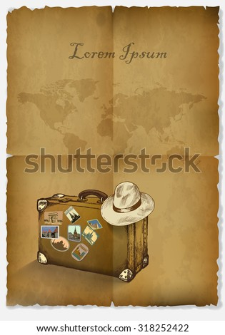 background tourism, antique papyrus, suitcase, hat and a map of the world.hand drawn.vector illustration