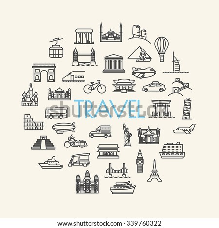 background travel, vacation, famous places Transportation and Vehicles icons - stock vector