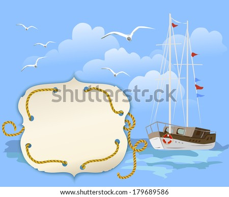 background travel with the ship. vector illusration - stock vector