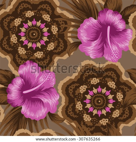 background tropical pattern.Juicy color of hibiscus flower on brown background.
