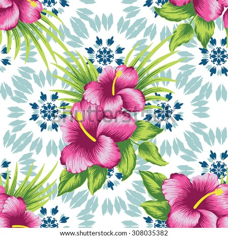 background tropical pattern.Pink of hibiscus flower on blue background.