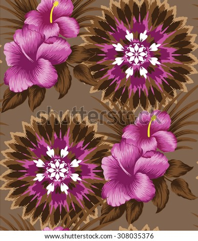 background tropical pattern.Pink of hibiscus flower on brown.