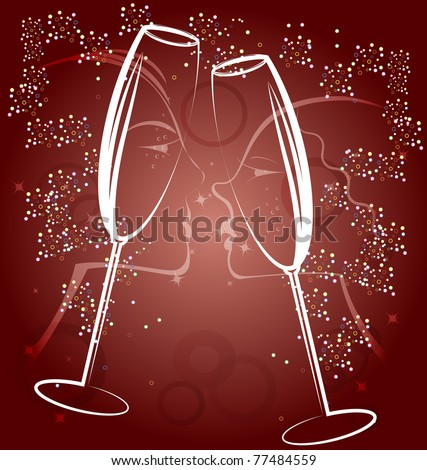 background two glasses of champagne - stock vector