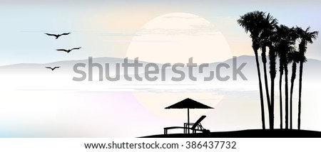 Background, umbrella, deck chair is standing by the sea