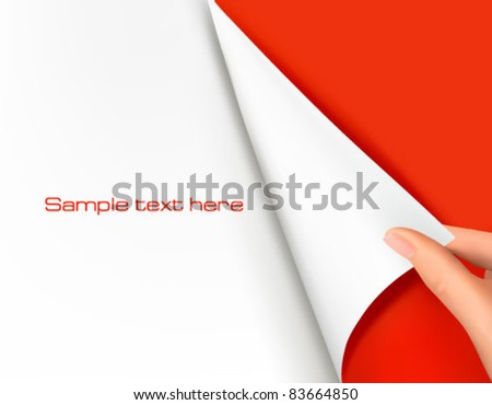 Background vector. Blank sheet of paper with hand.