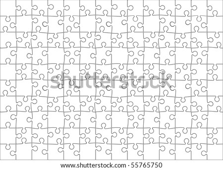 Background Vector Illustration of Blank Jigsaw Puzzle (each piece is an editable blend) - stock vector