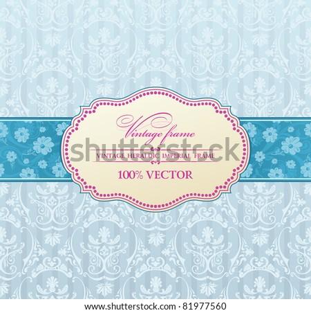 Background vector invitation vintage label. flower frame blue - stock vector