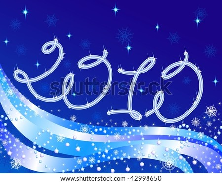 Background vector, New Year's, year 2010. EPS8, all parts closed, possibility to edit. - stock vector