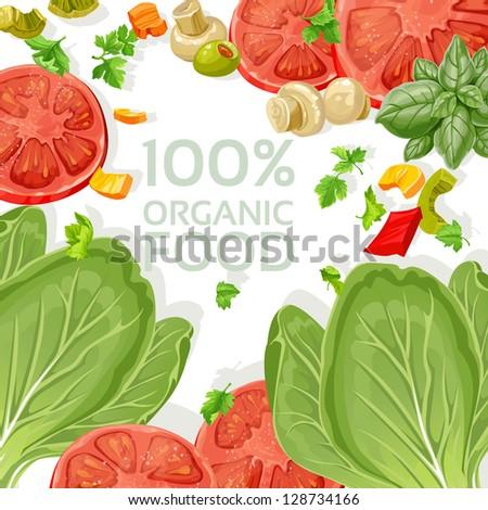 Background vegetarian fresh organic natural food - stock vector