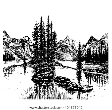 background view of beautiful mountain landscape with alpine lake, sandy islands and spruce forest, sketch hand drawn ink shading graphics vector illustration