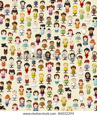 Background / wallpaper / texture of funny cartoon people - stock vector